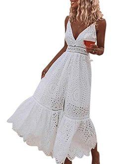 BerryGo Embroidery Pearl Button Down Dress V Neck Spaghetti Strap Front Slit Maxi Dress