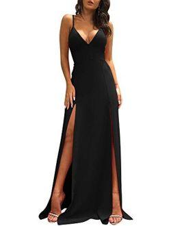 TOB Sexy Sleeveless Spaghetti Strap Backless Double Slit Cocktail Long Dress