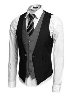 Men's Formal Layered Slim Fit Suit Vest Premium Business Waistcoat