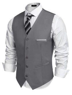 Men's Fashion Formal Slim Fit Business Dress Suit Vest Waistcoat