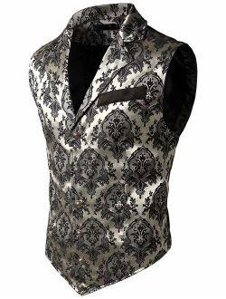VATPAVE Mens Victorian Suit Vest Steampunk Gothic Waistcoat