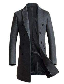 Mordenmiss Men's Premium Double Breasted Woolen Pea Coat Notched Collar Overcoat
