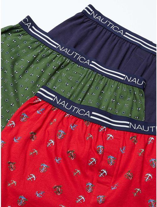 Nautica Men's Classic Cotton Exposed Waistband Knit Boxer.