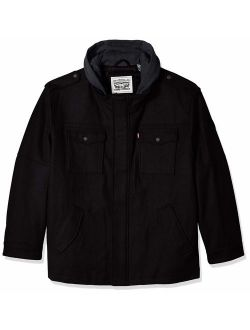 Men's Wool Blend Military Jacket With Hood