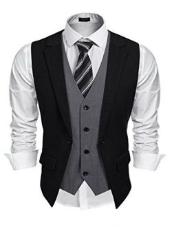 Mens Formal Fashion Layered Vest Waistcoat Dress Suit Vests