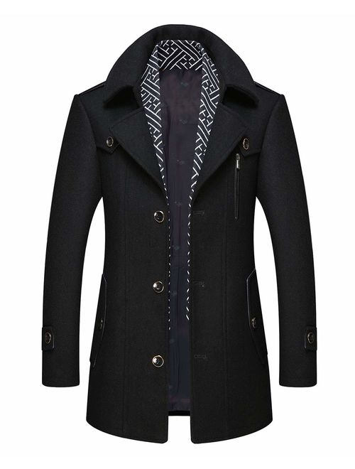 Mens Stylish Layered Collar Woolen Overcoat Single Breasted Pea Coat Wool Jacket