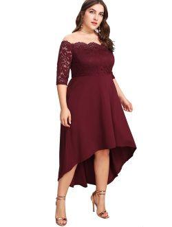 Women's Plus Size Vintage Lace Dip High Low Cocktail Party Dress