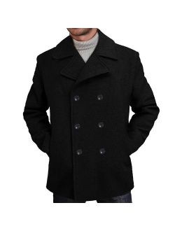 BGSD Men's Mark Classic Wool Blend Pea Coat (Regular Big and Tall)
