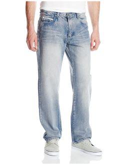 Ecko UNLTD Men's Loose Fit 5 Pocket Long Bottom Denim Jean