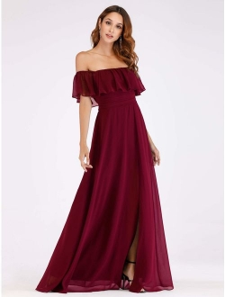 Off The Shoulder Ruffle Party Dresses Side Front Slit Beach Maxi Dress 07679