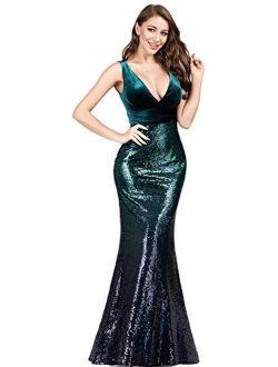 Women's Double V-neck Sequins Patchwork Mermaid Dress 7767