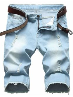 GARMOY Men's Casual Ripped Denim Shorts Jeans Distressed Stretchy Jeans Shorts Pants