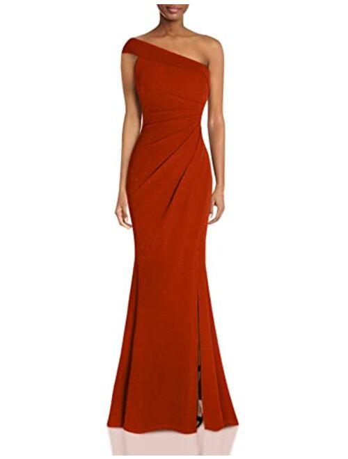Fazadess Women's Ruched One Shoulder Side Split Slim Formal Evening Party Dress