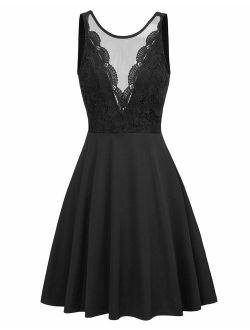 Women Sleeveless Lace Patchwork Deep V-neck A Line Flared Party Dress