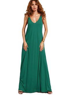 Women's Casual Sleeveless Deep V Neck Summer Beach Maxi Long Dress