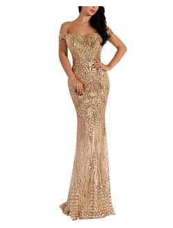 WRStore Women's Off Shoulder Sequined Evening Party Maxi Dress for Prom