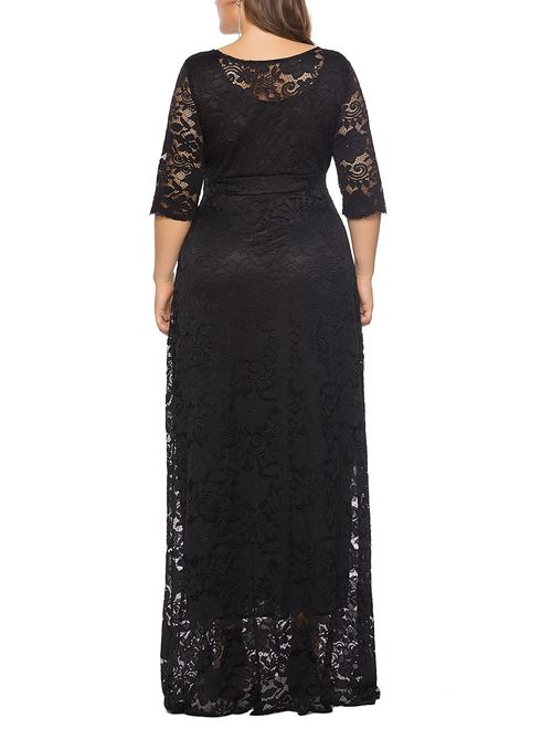 Eternatastic Womens Floral Lace 2/3 Sleeves Maxi Dress Plus Size Evening Party Dress
