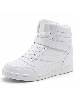 UBFEN Women's Shoes Hidden Wedges 5.5cm Fashion Sneakers Ankle Boots Bootie Platform Heel High Top Casual Sports