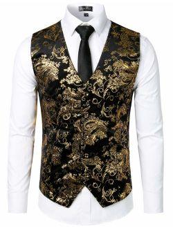 Mens Hipster Metallic Paisley Printed Single Breasted V-neck Suit Vest/tuxedo Waistcoat