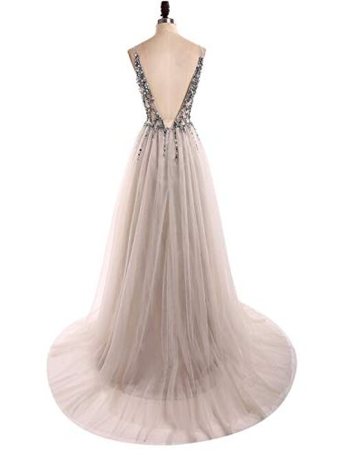 Sexy Deep V Neck Sequins Beads Tulle and Lace High Slit Long Evening Dresses Bridal Wedding Prom Dresses