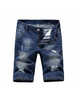 Heart Yuxuan Men's Denim Shorts Fashion Casual Slim Fit Jeans Short