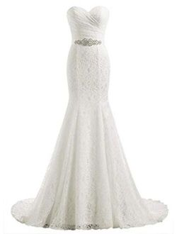 Likedpage Women's Lace Mermaid Bridal Wedding Dresses