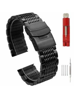 Solid Stainless Steel Mesh Watch Band for Men Women Brushed Middle Polished Metal Watch Strap Bracelet Deployment Clasp 20mm 22mm 24mm Black Silver Blue Gold Rose Gold