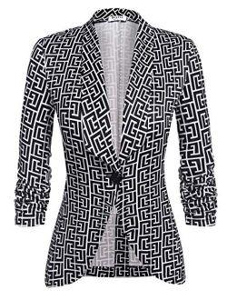 Beyove Women's 3/4 Stretchy Ruched Sleeve Open Front Lightweight Work Office Blazer Jacket S-XXL