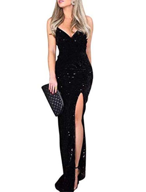 BerryGo Black Sexy V Neckd Bodycon Sequin Gown Thigh High Slit Evening Dress