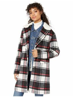 Women's Wool Plaid Sherpa Collar Top Coat