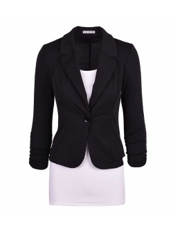 Auline Collection Women's Long Sleeve Solid Knit Blazer