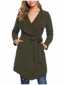 Women's Thin Trench Coat Long Wrap Coat Open Peacoat With Belt