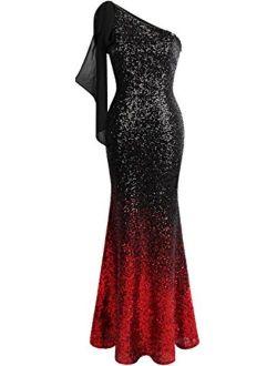 Angel-fashions Women's Asymmetric Ribbon Gradient Sequin Mermaid Embellished Long Prom Dress