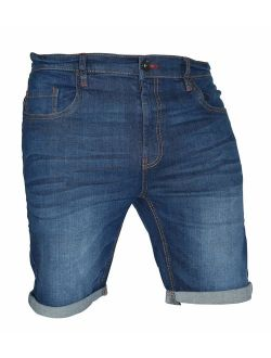 westAce Mens Stretch Denim Chino Shorts Casual Flat Front Slim Fit Super Spandex Jeans Half Pant