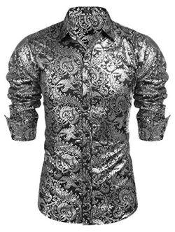 Men's Luxury Design Shirts Floral Dress Shirt Casual Button Down Silk Shirts
