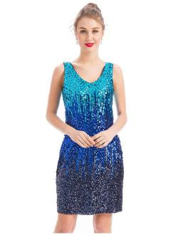 MANER Women's Sexy V Neck Sequin Glitter Bodycon Stretchy Embellished Club Mini Party Dress