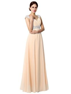 Sarahbridal Women's Beaded Prom Dress Long 2019 Chiffon Bridesmaid Embellished Gowns for Wedding
