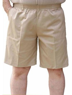 The Senior Shop Men's Full Elastic Waist, No Zipper, Buttons or Loops Twill Walking Shorts