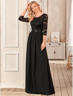 3/4 Sleeve Elegant Empire Waist Maxi Bridesmaid Dresses 07412