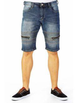 X RAY Men's Jean Shorts Biker Denim Short Jeans for Men Moto Slim Fit Stretch Casual Knee Length Hem