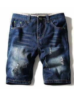 TAKIYA Mens Short Jeans Ripped - Fashion Ditressed Ripped Washed Shorts Pants