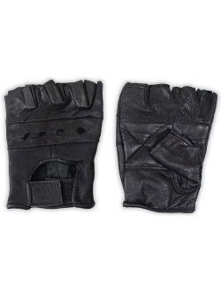 Men's Fingerless Leather Gloves - Black Mesh Backs - Size Medium: ( Pack of 2 Pairs ) (ToolUSA: GL-50020-Z02)