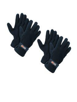 Men's Fleece Lined Adjustable Warm Winter Gloves (Blue 2 Pairs)