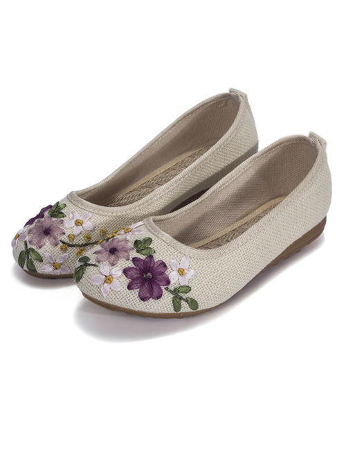 FLORATA Women's Flax Shoe Casual Driving Shoes Basic Ballet Flat Embroidered Shoes With Printing