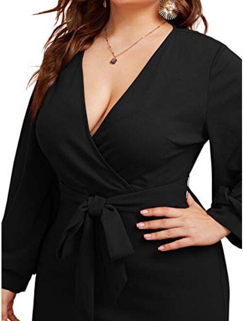 Verdusa Women's Surplice Wrap Bishop Sleeve Belted Bodycon Pencil Dress