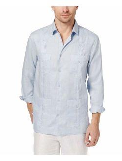 Mens Small Pintuck Linen Guayabera Shirt