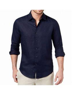 New Blue Navy Mens Size Large L Linen Button Down Shirt