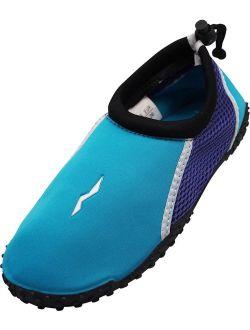 Norty Womens Water Shoes Aqua Socks Surf Yoga Exercise Pool Beach Swim Slip On, 40209 Aqua/White / 10B(M)US