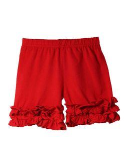 Girls Red Elastic Waist Ruffle Bottom Icing Boutique Shorts