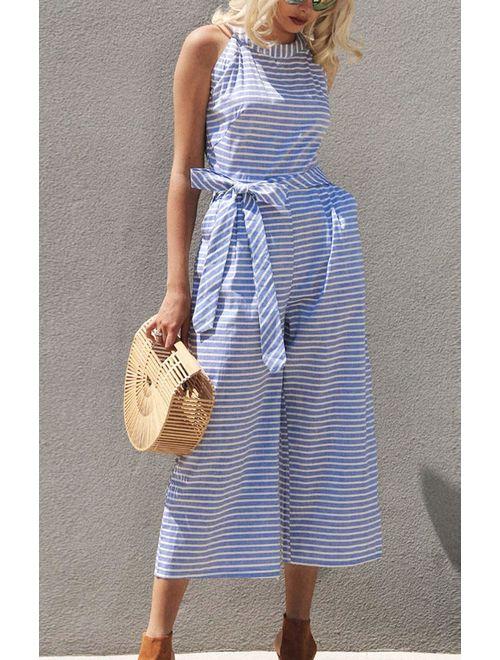 PRETTYGARDEN 2020 Women's Striped Sleeveless Waist Belted Zipper Back Wide Leg Loose Jumpsuit Romper with Pockets